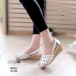 รองเท้าส้นเตารีด ฉลุลายกราฟฟิก หนัง pu [สีขาว]