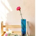 Deep Ocean Glass Vase แจกันแก้วทรงกระบอก สีเขียวอมน้ำเงิน