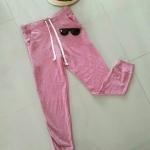 กางเกงผ้าสำลีอุ่น ผ้ายืด ขาจั๊ม ลายเสือ แบรนด์ PULL&REAR