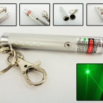 LASER พวงกุญแจเลเซอร์ เขียวเล็กสั้น (20 mW) สีเงิน
