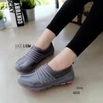 ผ้าใบเกาหลี soft&comfort แต่งลายเส้น พื้นถอดได้(ผ้าใบยืด) [สีเทา]