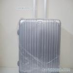 กระเป๋าเดินทางแบบคลิปล็อค fiber+abs ไซส์ 24 นิ้ว ลายเส้นตรง สีเทาเงิน ส่งฟรี