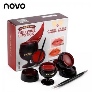 novo RED WINE LIPSTICK โนโว ลิปแก้วไวน์ 1 เซต 2 สี