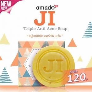 amado JI Triple Anti Acne Soap สบู่อมาโด้ เจไอ สบู่ระเบิดสิว ออร่าใน 3 วัน