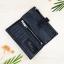 กระเป๋าสตางค์หนังแท้ ผู้ชาย ทรงยาว รุ่น GUBINTU Line Button Zip Black สีดำ thumbnail 3