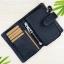 กระเป๋าสตางค์หนังแท้ ผู้ชาย ทรงตั้ง รุ่น GUBINTU Line Button Zip Black สีดำ thumbnail 3