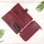 กระเป๋าสตางค์หนังแท้ทรงยาว สีแดงเลือดนก เก็บของได้เยอะมาก เเยกชิ้นส่วนได้ ใส่มืือถือได้ thumbnail 6