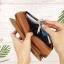 กระเป๋าสตางค์หนังแท้ทรงยาว สีน้ำตาลทราย เก็บของได้เยอะมาก เเยกชิ้นส่วนได้ ใส่มืือถือได้ thumbnail 11