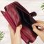กระเป๋าสตางค์หนังแท้ทรงยาว สีแดงเลือดนก เก็บของได้เยอะมาก เเยกชิ้นส่วนได้ ใส่มืือถือได้ thumbnail 16
