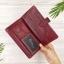 กระเป๋าสตางค์หนังแท้ทรงยาว สีแดงเลือดนก เก็บของได้เยอะมาก เเยกชิ้นส่วนได้ ใส่มืือถือได้ thumbnail 4