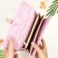 กระเป๋าสตางค์ผู้หญิง ทรงยาว รุ่น Table สีชมพูอ่อนใส่มือถือไอโฟน 6s พลัสได้ ส่งพร้อมกล่อง thumbnail 4