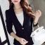 เสื้อสูททำงานผู้หญิงแฟชั่น แต่งระบายชายสวยหรู-1205-สีดำ(S/M/L/XL/2XL) thumbnail 1