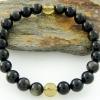▽สร้อยข้อมืออำพัน+ออบซิเดียน (Amber + Golden Obsidian) 7mm.