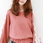 เสื้อชีฟอง คอกลม แขนยาวแต่งลูกไม้ สีชมพู จั๊มเอวชายระบายเล็กน้อย Size S