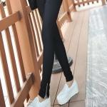 กางเกงเลคกิ้ง สีดำ เอวยางยืด ติดซิบปลายขา
