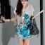 เสื้อแฟชั่น สไตล์เกาหลีเสื้อสีขาว แต่งรูปดอกสีฟ้า ทั้งหน้า-หลัง thumbnail 2