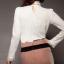 เสื้อทำงาน สีขาว แขนยาว สม๊อกปลายแขนเล็กน้อย คอแต่งผ้าชีฟองสีขาว thumbnail 3