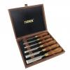 NAREX 853200 & 853250 Premium 6-pc set with Hornbeam Handles in Wooden Box - ชุดสิ่วพรีเมียม 6 ขนาดในกล่องไม้