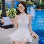 [พร้อมส่ง]BKN-091 ชุดว่ายน้ำวันพีช แต่งผ้าซีทรูคอเสื้อเซ็กซี่ ==สีขาว==