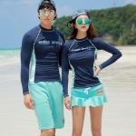 [พร้อมส่ง]BKN-599 ชุดว่ายน้ำแขนยาว+กางเกงกระโปรง เซ็ต 2 ชิ้น สีกรมท่า+สีฟ้า