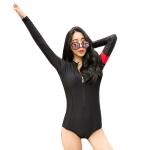[พร้อมส่ง]BKN-556 ชุดว่ายน้ำแขนยาว วันพีช สีดำ แขนสกรีนอักษร
