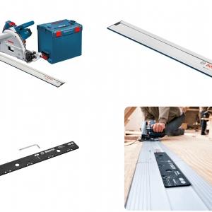 Bosch GKT55GCE Professional Track Saw- Full Set (ชุดเลื่อยรางบ๊อช พร้อมราง 1.6 ม. และ1.1 ม. พร้อมตัวต่อราง และกล่องใส่เลื่อย L-Boxx)