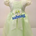 ชุดกระโปรงเด็กใส่ออกงานแบบมีเสื้อกั๊กผ้าลูกไม้แขนตุ๊กตา MB198