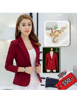 เสื้อสูทผู้หญิง เสื้อสูทใส่ทำงาน สีแดงไวน์ พร้อมส่ง XL