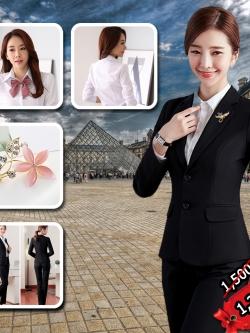 ชุดสูทผู้หญิง สีดำ ผ้าฮานาโกะ สูท+กางเกง Size S,M,L,XL,2xl,3xl,4xl **มีของแถม**