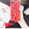 (701-009)เคสมือถือไอโฟน Case iPhone7 Plus/iPhone8 Plus เคสแฟชั่นสไตล์โรมันสีแดงพร้อมสายคาดมือด้านหลังโทรศัพท์