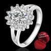 ฟรีกล่องแหวน R880 แหวนเพชรCZ ตัวเรือนเคลือบเงิน 925 หัวแหวนรูปดอกไม้แต่งเพชร ขนาดแหวนเบอร์ 7