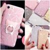 (025-989)เคสมือถือไอโฟน Case iPhone7/iPhone8 เคสนิ่มพื้นหลังลายวิ้งค์ Glitter แบบมีแหวนมือถือ/ไม่มีแหวนมือถือ