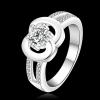 R890 แหวนเพชรCZ ตัวเรือนเคลือบเงิน 925 หัวแหวนเพชรกลมตัวเรือนรูปอินฟินิตี้ ขนาดแหวนเบอร์ 7-8