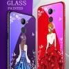 (025-1190)เคสโทรศัพท์มือถือหัวเว่ย Case Huawei Y7prime เคสนิ่มซิลิโคนพื้นหลังกระจกนิรภัยบลูเรย์ลายผู้หญิงสวย