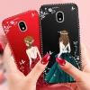 (587-008)เคสมือถือซัมซุง Case Samsung J3 Pro 2017 เคสนิ่มแฟชั่นลายผู้หญิงขอบเพชร