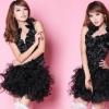 รหัส show girl 54 สีดำ เซ็ต 2ชิ้น เสื้อ+กระโปรง