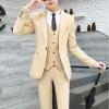 สูท,ชุดสูทเจ้าบ่าว,สูทผู้ชาย เกรดพรีเมี่ยม สีครีมทอง+เสื้อกั๊กคลิกเพื่อดู Size