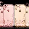(025-1105)เคสมือถือไอโฟน Case iPhone 6Plus/6S Plus เคสนิ่มซิลิโคนใสลายดอกไม้หรูประดับคริสตัล