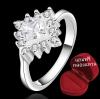 ฟรีกล่องแหวน R879 แหวนเพชรCZ ตัวเรือนเคลือบเงิน 925 หัวแหวนรูปดอกไม้แต่งเพชร ขนาดแหวนเบอร์ 7
