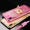 (025-1196)เคสโทรศัพท์มือถือวีโว่ Vivo V9 เคสนิ่มใสลายดอกไม้แหวนโลหะน่ารักๆ