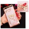 (025-1152)เคสมือถือ Case Huawei P9 เคสนิ่มซิลิโคนใสลายหรูประดับคริสตัล พร้อมแหวนเพชรมือถือตั้งโทรศัพท์