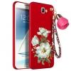(694-002)เคสมือถือ Samsung Galaxy Note2 เคสนิ่มดอกไม้พร้อมพู่ห้อยสวยๆ