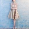 เดรสสั้น คอจีน แขนสามส่วน สีทอง Size L ผ้าซาติน แบบเรียบหรู งานร้อยหลัง