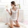 2in1 Sexy White Lace Tassel Dress ชุดนอนเซ็กซี่สีขาวลูกไม้แต่งพู่ระบาย พร้อมจีสตริงลูกไม้