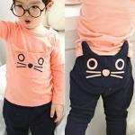 ชุดเสื้อ+กางเกงหน้าแมว สีส้ม/น้ำเงิน