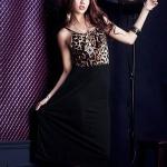 [Preorder] เดรสแฟชั่นแขนกุดลายเสือดาว สีดำ Wild charm leopard vest dress stitching