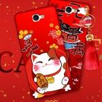 (388-111)เคสมือถือ Samsung Galaxy Note2 เคสนิ่มแมวนำโชคพร้อมพู่ห้อยน่ารักๆ