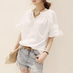 เสื้อแฟชั่นชุดทำงานพร้อมส่ง  เสื้อยืดดีไซต์เก๋สไตส์เกาหลี  คอวีสีขาว ผ้าฝ้าย ใส่สบาย +พร้อมส่ง+