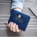 กระเป๋าสตางค์ใบสั้น สไตล์เกาหลี ลายดอกไม้ สี Dark Blue ซิปรอบ