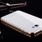 (พร้อมส่ง)เคสมือถือซัมซุง Case Samsung A9/A9000 เคสโลหะกรอบทองพื้นหลังแววกระจกขาว
